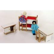 Brinquedo de Madeira Kit de Móveis Miniatura para Casinha de Boneca Quarto das Crianças