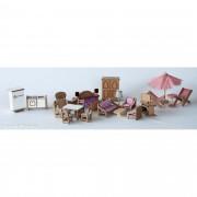 Brinquedo de Madeira Kit Móveis miniatura para Casinha de Boneca Completo