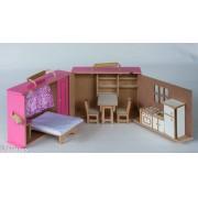 Brinquedo de Madeira Maleta Super Bacana Rosa casa