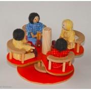 Brinquedo de Madeira Mini Gira-gira para casinha de boneca