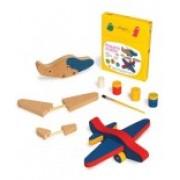 Brinquedo de Madeira para Pintar e Montar Pequeno Aviador