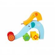 Brinquedo de Madeira Rola Rola Família Elefante