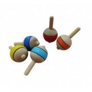 Brinquedo de Madeira Tradicional Pião Bolinha Cores Sortidas