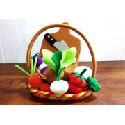 Brinquedo de Pano Kit de Legumes de Tecido na Cesta