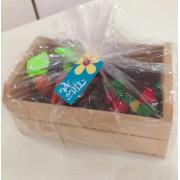 Brinquedo de Tecido Horta no Caixote com Frutas e Legumes em Feltro