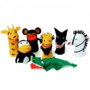Brinquedo Educativo Conjunto de Fantoches Animais Selvagens com 7 Personagens