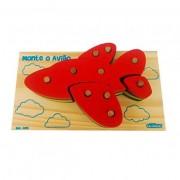 Brinquedo Educativo de encaixar de Madeira Monte o Avião
