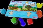 Brinquedo Educativo de Encaixe Meus Animais madeira e plastico