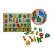 Brinquedo Educativo de Madeira Alfabeto Com Pinos.