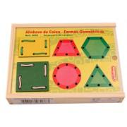 Brinquedo Educativo de Madeira Alinhavo de Caixa Formas Geométricas