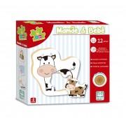 Brinquedo Educativo de Madeira Be a Bá Mamãe e Bebê 12 peças