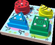 Brinquedo Educativo de Madeira Blocos de encaixe Jardim Geométrico
