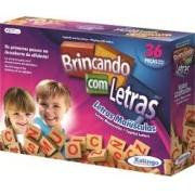 Brinquedo Educativo de Madeira Brincando com Letras 36 Peças Xalingo