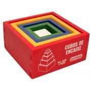 Brinquedo Educativo de Madeira Cubos de Encaixe
