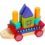 Brinquedo Educativo de madeira de Montar Barco Geométrico