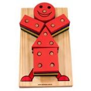 Brinquedo Educativo de Madeira de Montar Boneco Geométrico