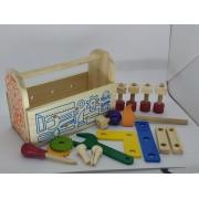 Brinquedo Educativo de Madeira Gire e Crie Caixa de Ferramentas