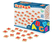 Brinquedo Educativo de Madeira Letras 160 Peças