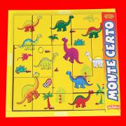 Brinquedo Educativo de Madeira Quebra Cabeça Monte Certo Dinossauros