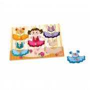 Brinquedo Educativo de Madeira Tabuleiro de Encaixe Menina