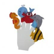 Brinquedo Educativo Dedoches em Feltro Animais Marinhos