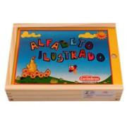 Brinquedo Educativo em Madeira para Alfabetização Alfabeto Ilustrado