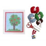 Brinquedo Educativo Kit para Bordado e Colagem em Tela Desenhada Árvore