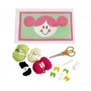 Brinquedo Educativo Kit para Bordado e Colagem em Tela Desenhada Boneca