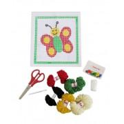 Brinquedo Educativo Kit para Bordado e Colagem em Tela Desenhada Borboleta