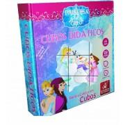 Brinquedo Educativo Quebra Cabeça Cubos Didáticos de Madeira Princesa do Gelo
