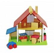 Casinha de Boneca de Madeira Mini Chale com Garagem em Madeira Colorida