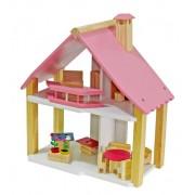 Casinha de Bonecca de madeira Mini Chale Pink