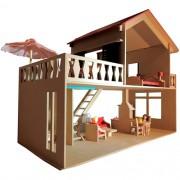 Casinha de Madeira Casa com Piscina em Madeira com Móveis