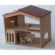 Casinha de Madeira Casa de Boneca com Garagem Equipada