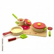Coleção Comidinhas de madeira conjunto panelas e cooktop 4 peças