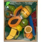 Coleção Comidinhas de madeira  Kit 1 Frutas 11 peças com corte