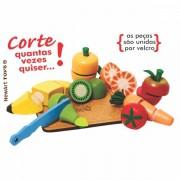 Comidinha de Madeira Coleção Comidinhas  Kit Frutas e Legumes com Corte