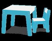 Conjunto Mesa com 1 Cadeira Infantil de Madeira Azul