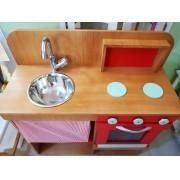 Cozinha de madeira com Cortina para casinha infantil