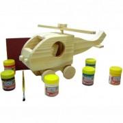 Faça e Brinque Kit Veículos de Madeira Pintar e Brincar G