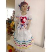 Fantasia Vestido Caipira de Noiva para Festa Junina - tamanho P