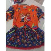 Fantasia vestido Caipira para Festa Junina Body Feminina Laranja Tamanho P