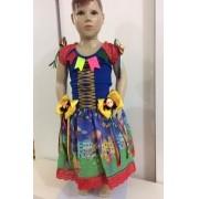 Fantasia Vestido Caipira para Festa Junina Elastano - Cores Sortidas - Tamanho P