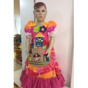 Fantasia Vestido Caipira para Festa Junina Flor Botão - Cores Sortidas - Tamanho M