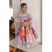 Fantasia Vestido Caipira para Festa Junina Lastex - Cores Sortidas - tamanho M