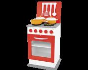 Fogão de Madeira  Super Chef Vermelho para  Casinha Infantil