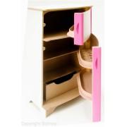 Geladeira em madeira Duplex Rosa para Casinha Infantil