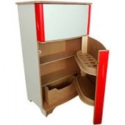 Geladeira em madeira Duplex Vermelha para Casinha Infantil