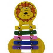 Instrumento Musical Infantil de Madeira Metalofone Leão Colorido