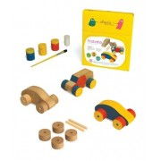 Kit Arte Frotinha Carrinhos de madeira para montar pintar e brincar